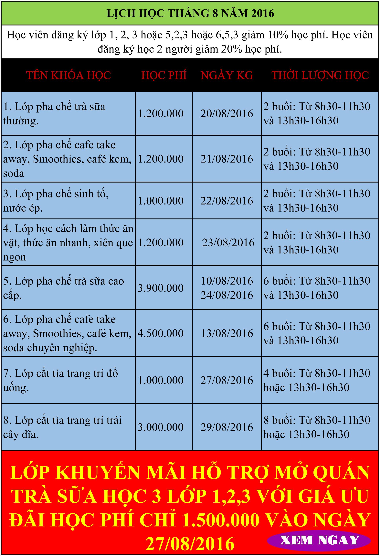 lịch học pha chế tháng 8